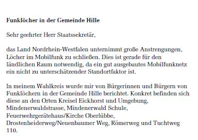 Auszug aus dem Brief von Frank Schäffler wegen der Funklöcher in Hille