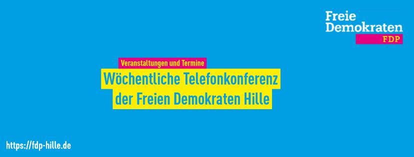 Banner wöchentliche Telefonkonferenz Freie Demokraten Hille