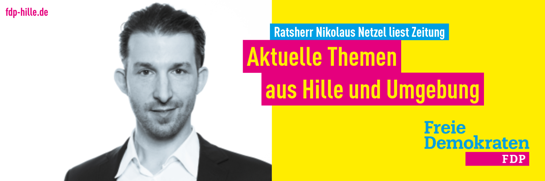 Banner-Grafik: Ratsherr Nikolaus Netzel liest Zeitung - aktuelle Themen aus Hille und Umgebung